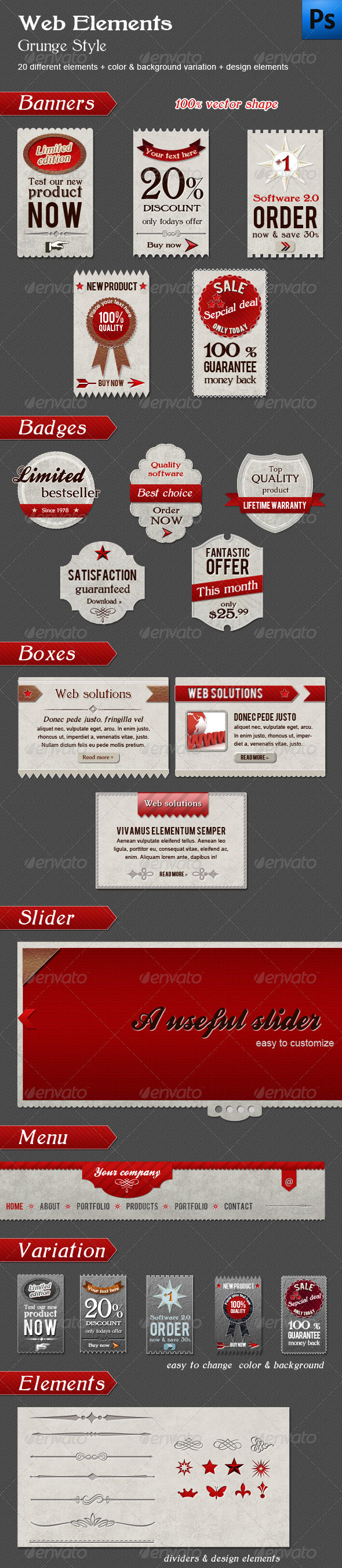 GraphicRiver Web Elements Grunge Style 626998