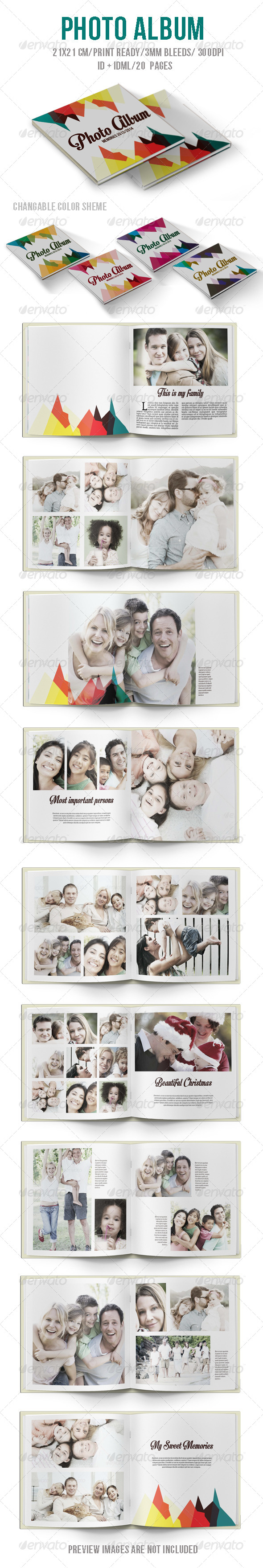 Colorful Photo Album - Photo Albums Print Templates