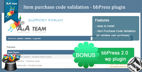 CodeCanyon Item Purchase Code Validation bbPress Plugin 558819
