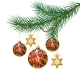 Red Christmas Balls on Green Spruce Branch - GraphicRiver Item for Sale