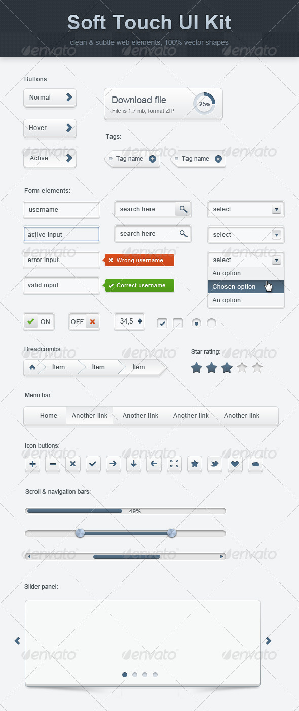 GraphicRiver Soft Touch Ui Kit 637660