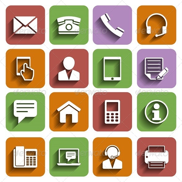 GraphicRiver Contact Us Icons Set With Shadow 6107734