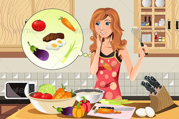 Cartoon Woman Cooking » Dondrup.com