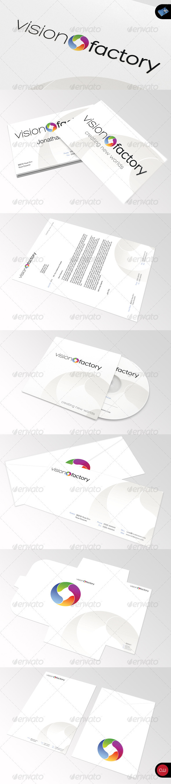 GraphicRiver Stationary & Identity Vision Factory 648811