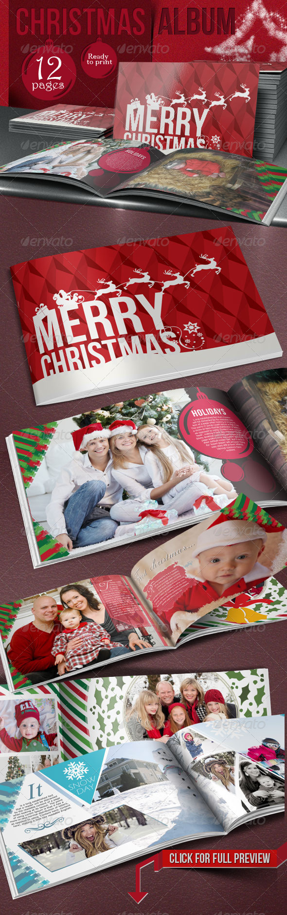 Family Christmas Photo Album - Photo Albums Print Templates