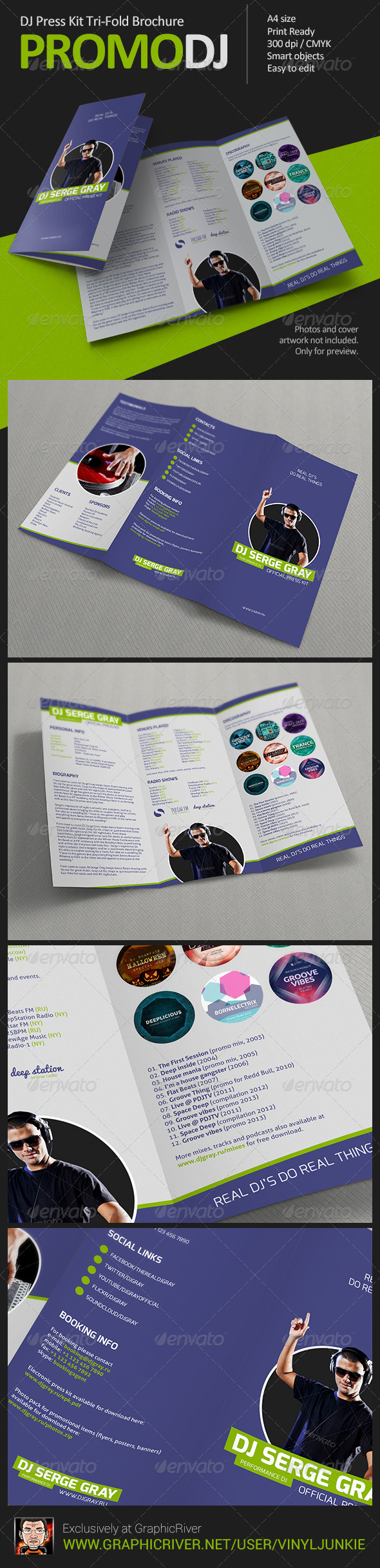 Promodj dj press kit tri fold brochure graphicriver for Dj press kit template free