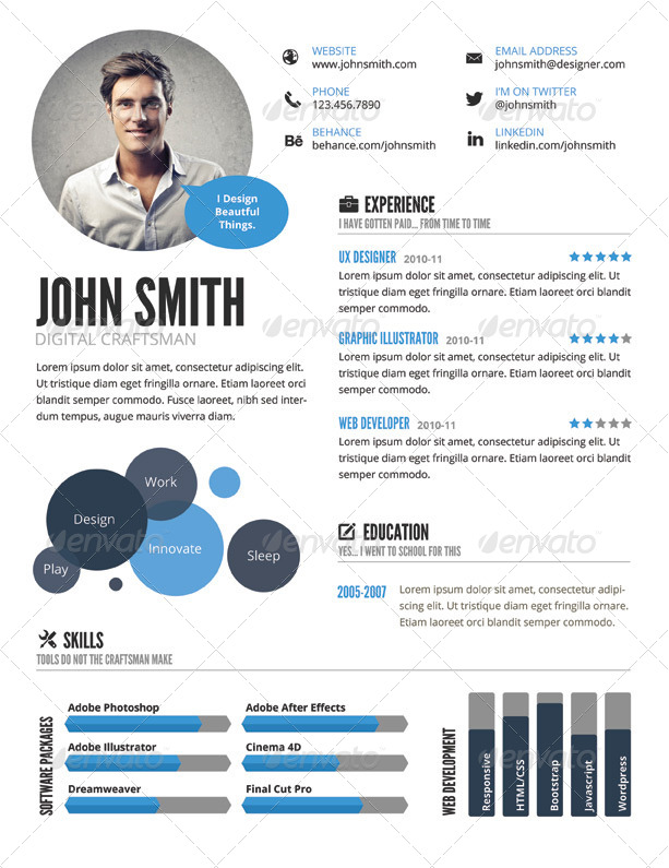 InfoGraphic Style Resume Template - GraphicRiver Previewer