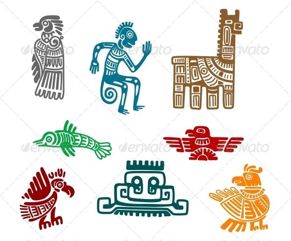 Aztec and Maya Ancient Drawings - Decorative Symbols DecorativeXochiquetzal Symbol