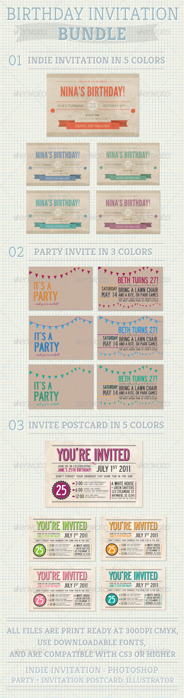 GraphicRiver Birthday Invitation Bundle 654460