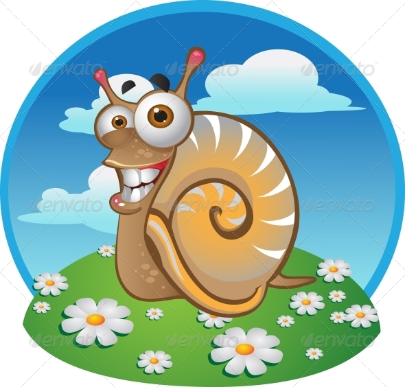 GraphicRiver Snail on the Color Background 6265542