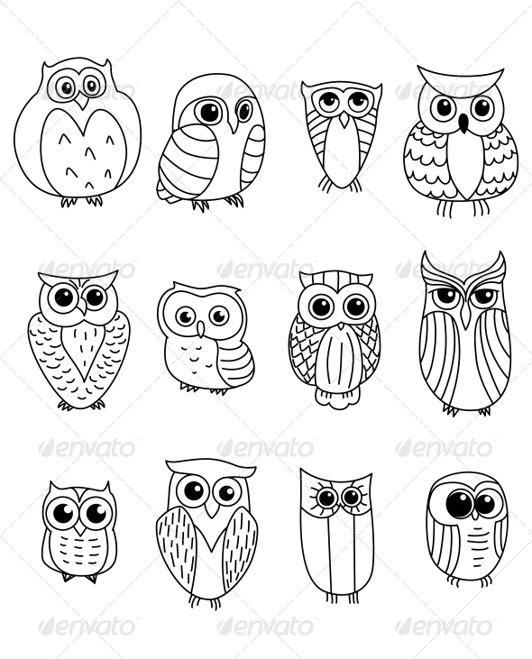Stock Vector Graphicriver Cartoon Owls And Owlets 6333142 187 Dondrup Com