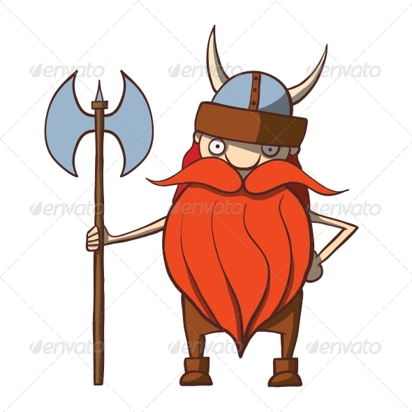 GraphicRiver Funny Cartoon Viking with an Axe 6352757
