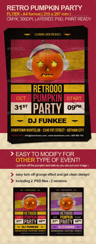 GraphicRiver Retro Pumpkin Party Flyer 641663