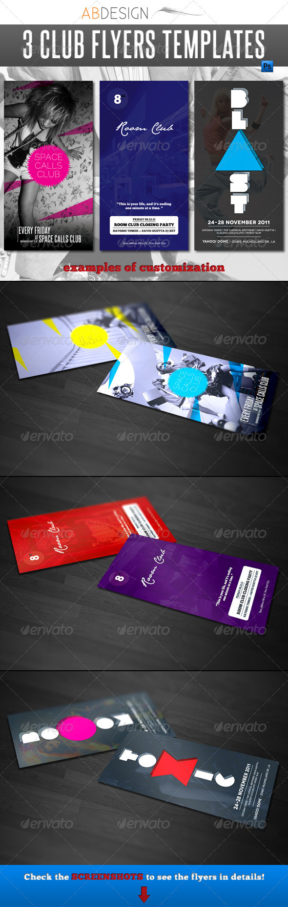 GraphicRiver 3 Club Flyers Templates 667339