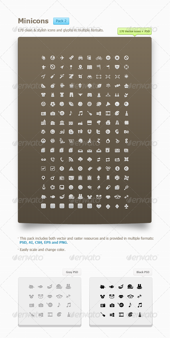 GraphicRiver Minicons Pack 2 170 vector icons & PSD CSH 669062