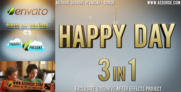 After Effects Project - VideoHive Happy Day 3in1 669066