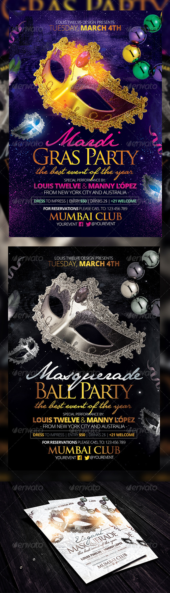 ... Ball / Mardi Gras Party Flyers Template - Clubs & Parties Events