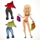 Nude Blond Shopping Glamur Girl with Clothes - GraphicRiver Item for Sale