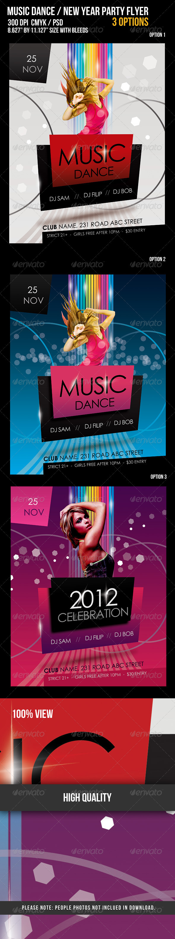 GraphicRiver Music Dance New Year Party Flyer 674548