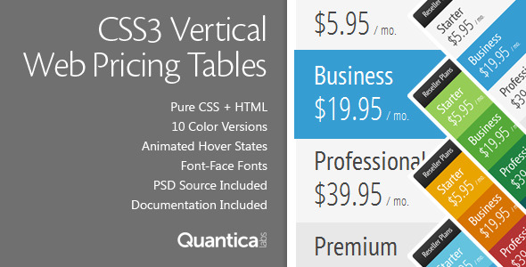 CodeCanyon CSS3 Vertical Web Pricing Tables 674617