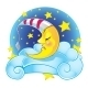 Sleeping Yellow Moon in Cap on the Cloud - GraphicRiver Item for Sale