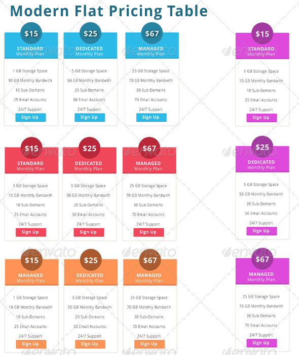 Modern Flat Pricing Table - Tables Web Elements