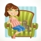 Pregnant Woman with Cat in Green Armchair - GraphicRiver Item for Sale