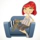 Pregnant Woman with Cat in Blue Armchair - GraphicRiver Item for Sale