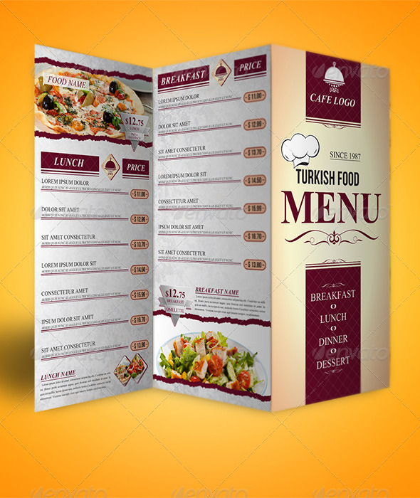 Food Take Out Menu Trifolds