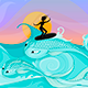 Female Surfer on Ocean Waves Stylized as Big Fish - GraphicRiver Item for Sale