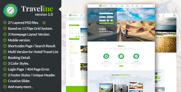 Traveline | Booking PSD Template - Travel Retail