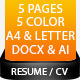 5 Pieces Resume Template - GraphicRiver Item for Sale