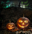Halloween pumpkins on rocks  at night - PhotoDune Item for Sale