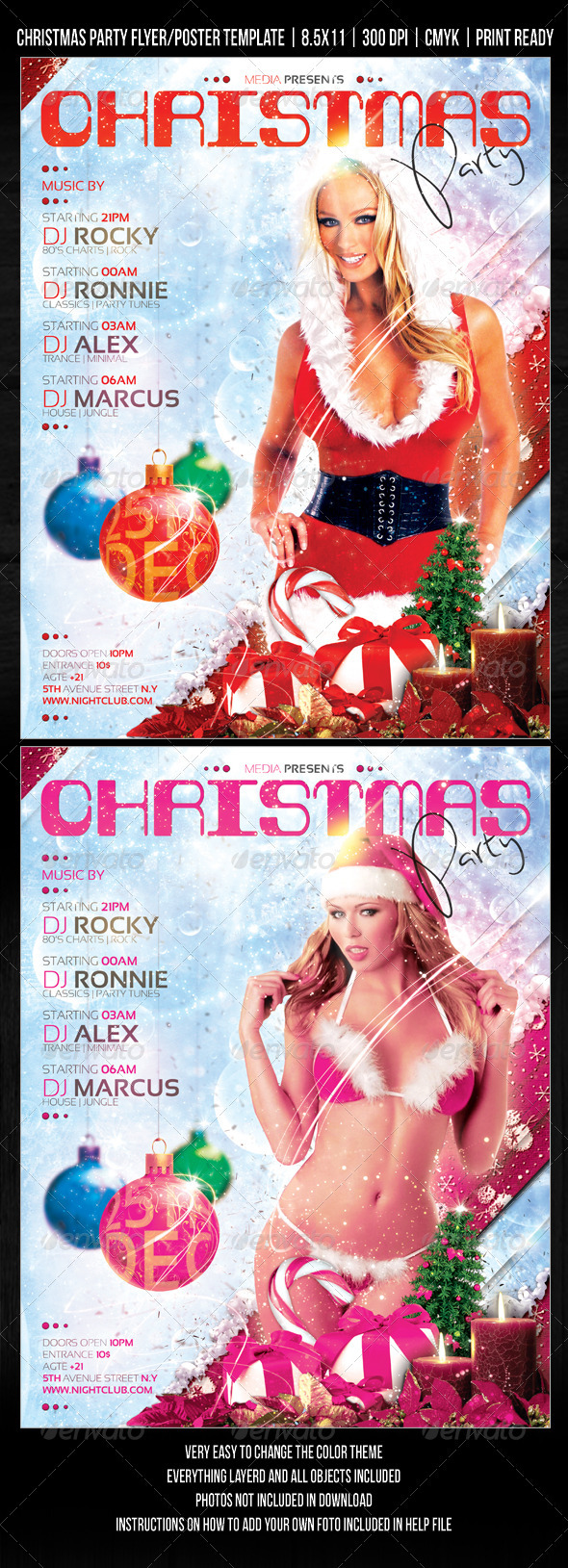 GraphicRiver Christmas Night Club Party Concert Flyer 682503