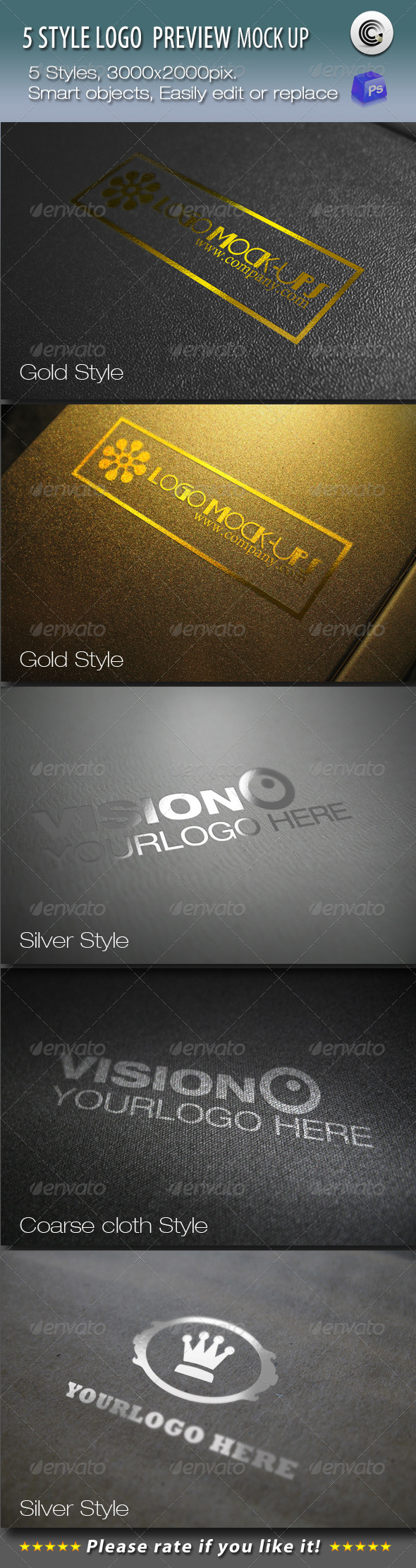 GraphicRiver 5 Styles Logo Preview Mock-ups 683452