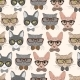 Hipster Cat Pattern - GraphicRiver Item for Sale