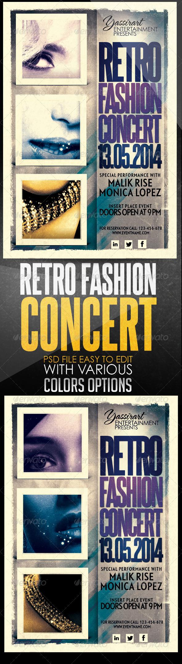 GraphicRiver Retro Fashion Concert Flyer Template 6555645