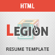 Legion | One Page Resume Responsive HTML Template - ThemeForest Item for Sale