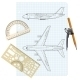 Exercise Book with a Drawing for a Model Airplane. - GraphicRiver Item for Sale