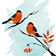 Winter Birds on a Tree (Ink on Watercolor) - GraphicRiver Item for Sale