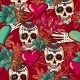 Skull, Hearts and Flowers Seamless Background - GraphicRiver Item for Sale