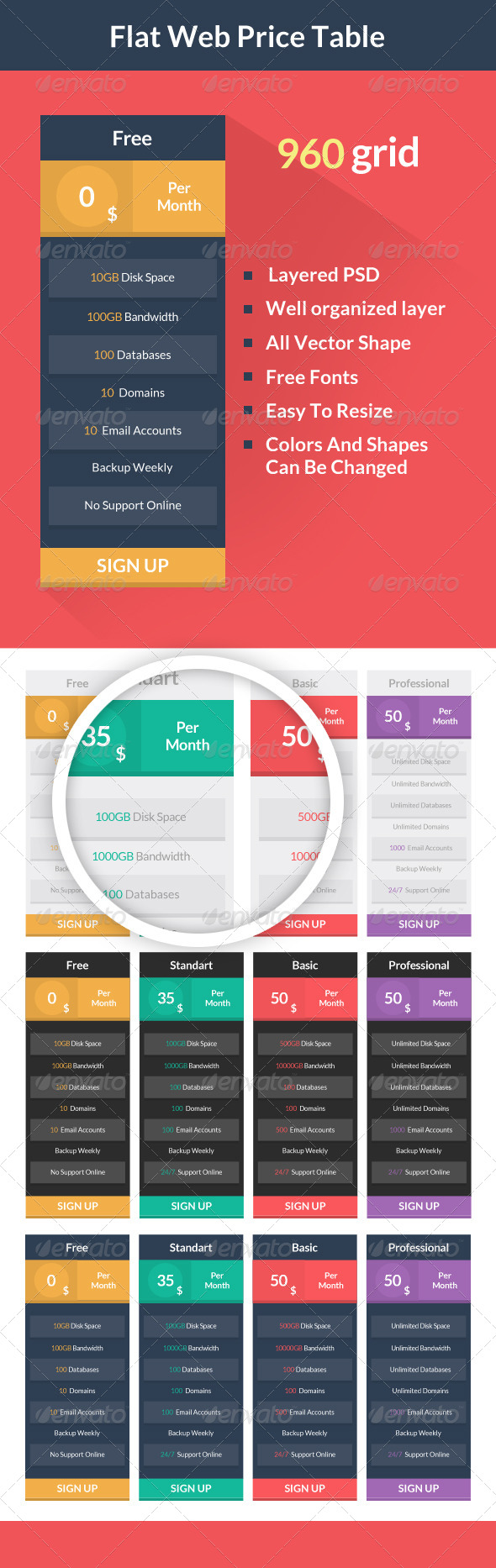 Flat Web Price Table - Tables Web Elements