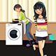 Mother Daughter doing Laundry - GraphicRiver Item for Sale