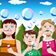 Kids Blowing Bubbles - GraphicRiver Item for Sale
