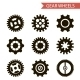Flat Design Style Black Gear Wheels Icons Set - GraphicRiver Item for Sale