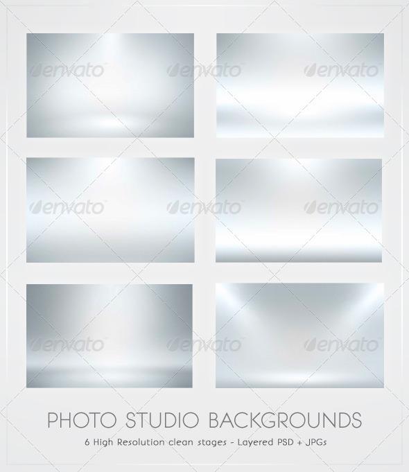 GraphicRiver Infinite White Floor Spotlight Backgrounds 195944