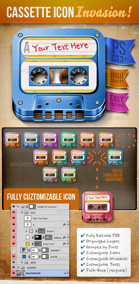 GraphicRiver Customizable Cassette Icon 706677