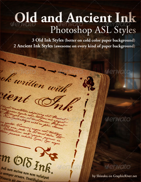 GraphicRiver Old Ink and Ancient Ink ASL Photoshop styles 707787