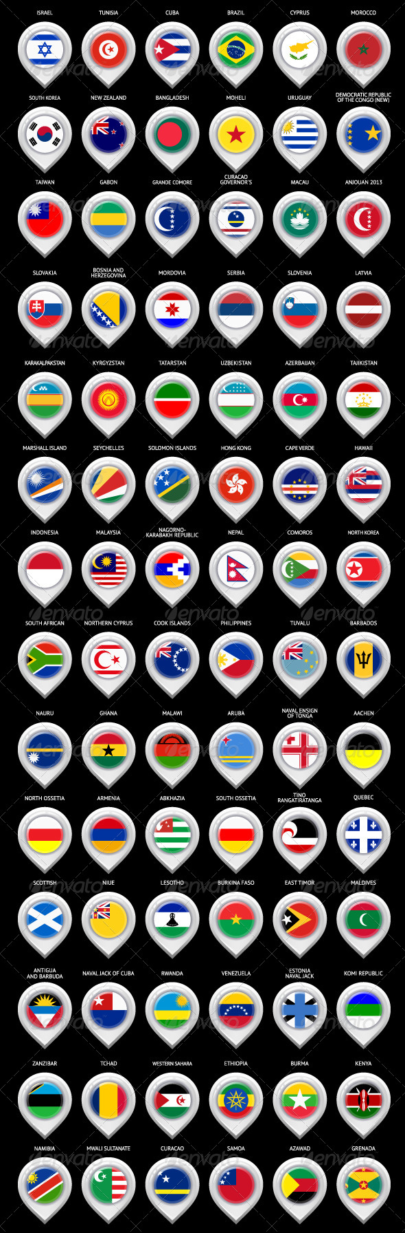 GraphicRiver 85 Map Markers Set with Flags 6767953