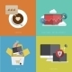 Flat Modern Icons on Sample Background - GraphicRiver Item for Sale